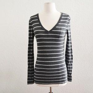 Womens Stripe Long Sleeve Tshirt Gray